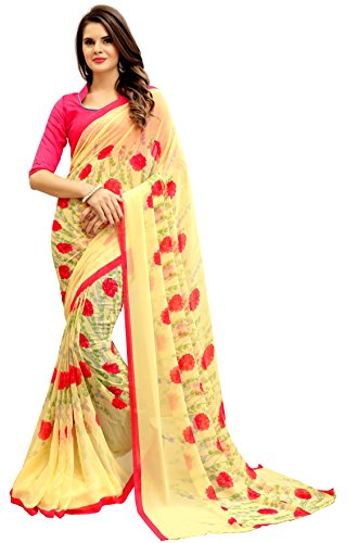 Navya Women\'s Georgette Saree With Blouse Piece (Nav314_Multi-Coloured)