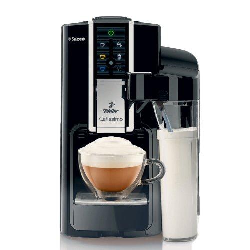 Tchibo Saeco Cafissimo Latte Kapselmaschine (für Kaffee, Espresso,Caffé Crema,Latte Macchiato,Cappuccino oder Tee),schwarz