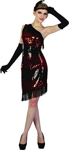 Generique - Charleston Kleid schwarz-rot für Damen ()