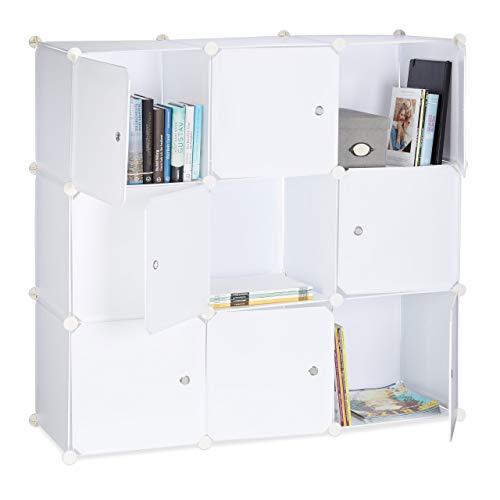 Relaxdays Regalsystem mit Türen, Raumteiler Kunststoff, Standregal 9 Fächer, Badregal offen, HBT: 95 x 95 x 32 cm, weiß -