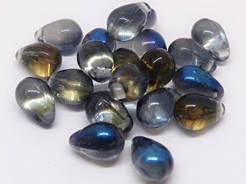 Czech Glass Beads 40(Pcs) X 9mm Tschechische Glas Tropfenform Tropfen Perlen–Aqua Beschichtet Kristall–W140 - Gläser Tschechische Kristall