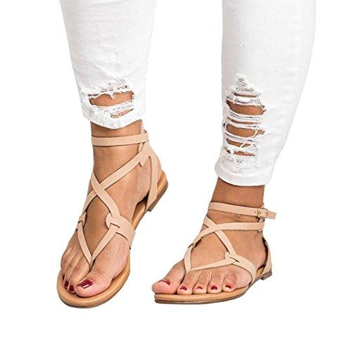 VJGOAL Damen Sandalen, Damen Mode Round Toe Atmungsaktive Lace-up Strand Sandalen Rom Casual Flache Sommerschuhe (35 EU, Beige)