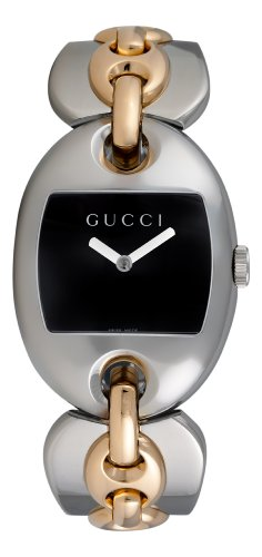 GUCCI Women's YA121305 121 Marina Chain Two-Tone Black Dial Watch