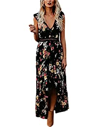 e4a72d0c9 Ufatansy Vestidos de verano de las mujeres de encaje con mangas largas  fuera del hombro Vestido
