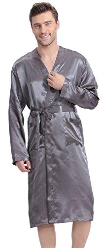 Klassische Satin Robe Morgenmantel Bademantel 4 Farbe Grau XL (Herren Robe)
