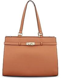 BOVARI sac à main Jackie - cuir de veau à imprimé saffiano - 37x27x16cm - whiskey