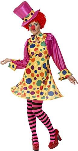 Clown Damenkostüm Mehrfarbig Reifkleid Hemd Fliege Gestreifte Strumpfhose Hut, (Kostüme Erwachsene Clown Zirkus Für)