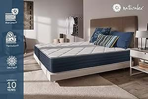 NATURALEX Matelas Supervisco - Mousse adaptative Blue Latex - Mémoire de Forme - 7 Zones de Confort - 25 cm - 140 x 190 cm