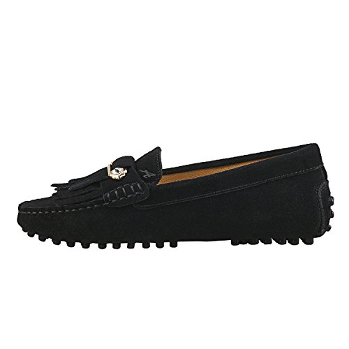 ShenDuo Damen Mokassins mit Metallschnallen und Bommel Leder Schuhe Casual Slipper Moderne Schuhe D7066 Schwarz