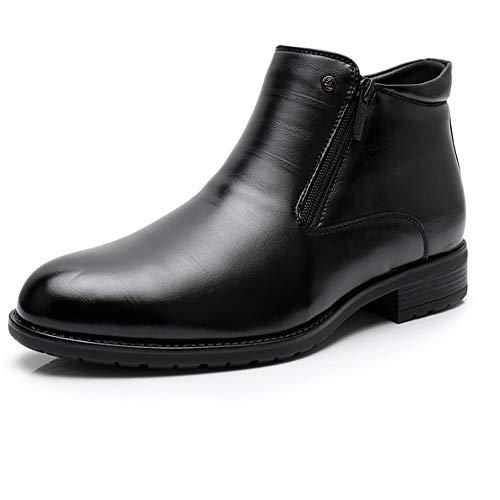 FMWLST Stiefel Herren Winter Business Boots Doppel-Reißverschluss Pelz Stiefel Kleid Schuhe, 47 -