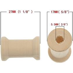 brovy (TM) 20pcs color natural de madera de bobinas para hilo de alambre hilo cilindro a 27mmx17mm