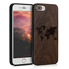 kwmobile Wooden Case Compatible with Apple iPhone 7 Plus / 8 Plus - TPU Bumper - Travel Outline Dark Brown