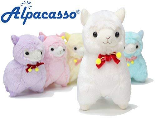 """Alpacasso 6.7"""" Alpaca de felpa blanca, juguete suave lindo de los animales de peluche."""