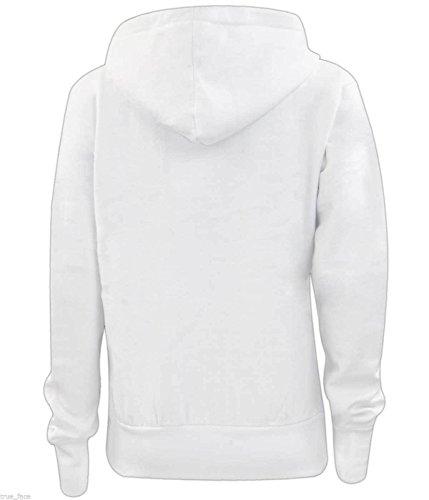 Nouvelle plaine de filles Ladies Zip Up Hoodie Sweatshirt femmes Fleece Jacket Hooded Top Blanc - Blanc