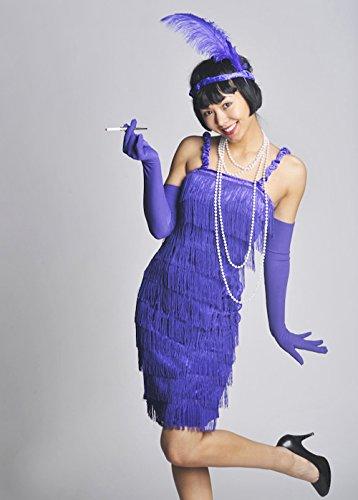 Womens 1920s Purple Fransen Flapper Girl Kostüm XXL (UK 16-18)