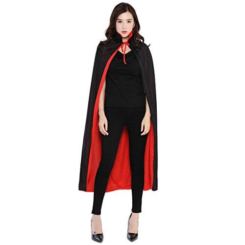 Huntfgold Schwarzer Roter Umhang Doppelseitig Cape Vampir Kostüm für Halloween Karneval Fasching Erwachsener ()