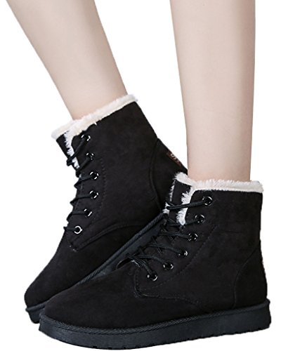 Minetom Bottes pour Femme Hiver Automne Chaudes Bottines Laçage Chaussures Flats Snow Boots Footwear