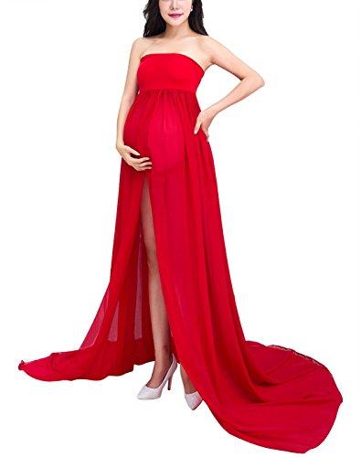 HAPPY CHERRY Sexy Schwangerschafts Fotografie Requisiten Mutterschaft Fotoshooting Kleidung Lang Kleid Maxirock Schwanger Eingewickelt Brust Röcke, Rot