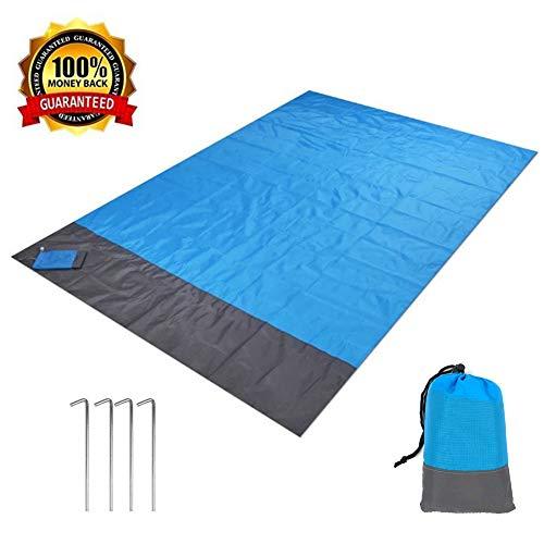 HEOCAKR Alfombras de Playa, 140 x 200 cm Manta de Picnic Impermeable Plegable Compacto con 4 Estaca Fijo para la Playa Acampar Picnic y Otra Actividad al Aire Libre (Azul)