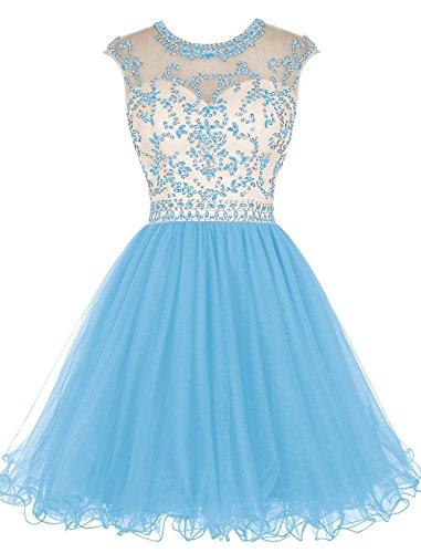 Fanciest Women' Cap Sleeve Beaded Kurz Homecoming Kleides Ball Lang Abendkleider Ballkleid Schwarz Blue
