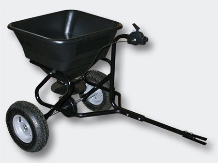 push-broadcast-spreader-30kg-with-pneumatic-tyres-coupling-for-ride-on-mower