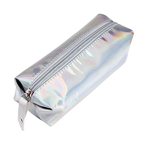 Trousse,Mytobang Cosmétiques Sac Crayons Trousse à crayon Trousses de toilettes vaporisateurs et étuis Zipper Pochette Ecolier de Porte-stylo Sacs de Maquillage Mode Hologram ,Argent