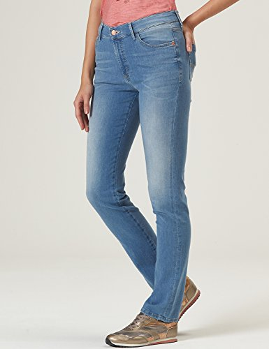 Pioneer Damen Straight Jeans Kate Blau (Blue Bleached Used With Buffies 184)