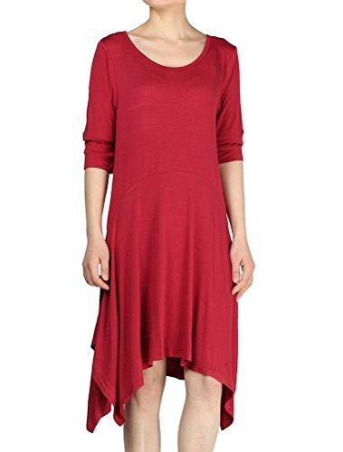 MatchLife Damen Casual Rundhalsausschnitt A-lin Hi-Low Hem Baumwolle T-Shirt Kleid Rot