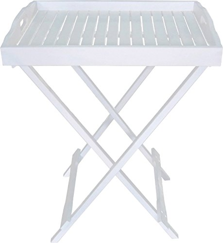 nxtbuy Tablettständer Milton aus Holz in Weiß mit Abnehmbarem Tablett und Griffleiste Stabiler Serviertisch für Garten, Terrasse und Balkon Beistelltisch mit lackierter, wetterfester Oberfläche Land Beistelltisch