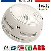 Détecteur de fumée DAAF ABB Alarme Incendie Garantie 6 Ans, Autonomie 5 Ans, Fixation sur Mur ou Plafond, Chevilles, Vis et Pile (9V DC) fournies, Fabriqué en France, Certifié NF EN14604 (1)
