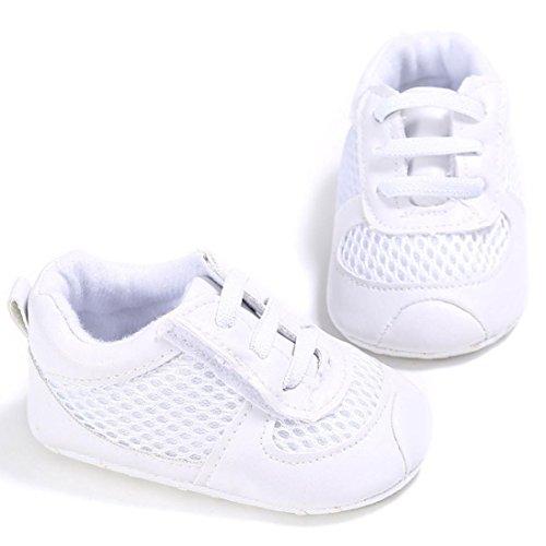 Oyedens Baby Jungen MäDchen GitterschnüRung Sneaker Anti-Rutsch Weiche Sohle Kleinkind Schuhe (13, Weiß) Weiß