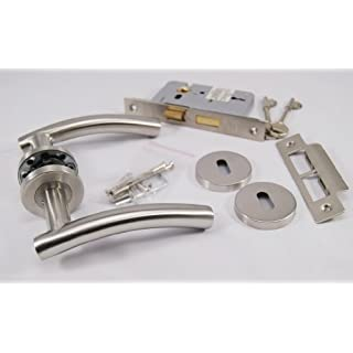 ArcWare Architectural Limited Arched T Bar Lever Door Handle On Rose, Satin Stainless Steel, Internal 3 Lever Lock set.