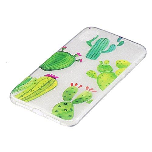 iPhone X Hülle, Voguecase Silikon Schutzhülle / Case / Cover / Hülle / TPU Gel Skin für Apple iPhone X(Regenbogenpferd) + Gratis Universal Eingabestift Kaktus 02