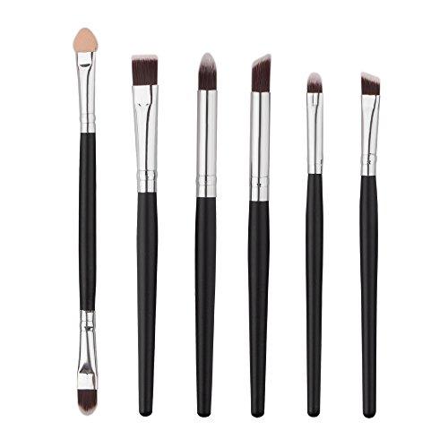 Dosige 6 pcs Set Multifonctionnel Pinceaux Professionnel Pinceaux de Maquillage Yeux Brosse de Brush Cosmétique Professionnel - Noir + Argent