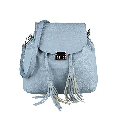 OBC Made IN Italy 2in1 Damen Echt Leder Tasche Rucksack Damentasche Handtasche Schultertasche Umhängetasche Ledertasche Lederrucksack Crossbag Hellblau