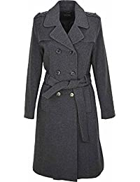 Womens Double Breasted Long Coat Wool Touch Fit Ladies Winter Coat With Inside Lining