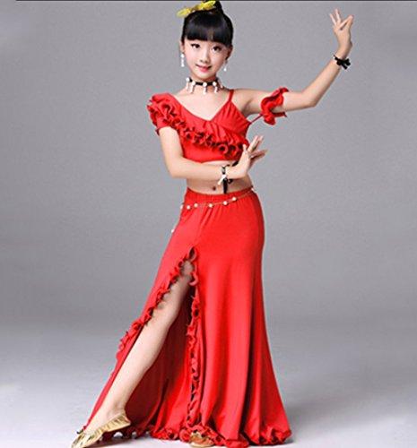 HUOFEINIAO Kinder Bauchtanz Kostüm Indischer Tanz Praxis Kleidung Modenschau Kleid,Red,M