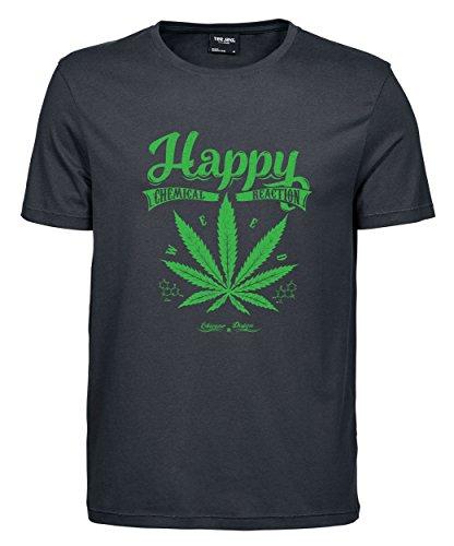 makato Herren T-Shirt Luxury Tee Happy Weed Dark Grey
