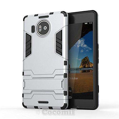 Cocomii Iron Man Armor Microsoft Lumia 950 XL Hülle [Strapazierfähig] Taktisch Griff Ständer Stoßfest Gehäuse [Militärisch Verteidiger] Case Schutzhülle for Microsoft Lumia 950 XL (I.Silver)