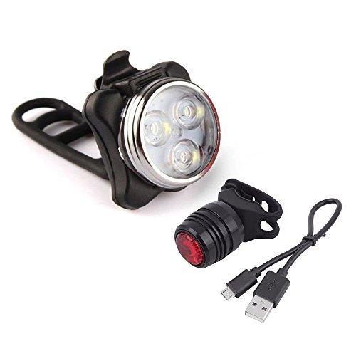 Wiederaufladbare LED Fahrradlampe, Ulanda Wasserdicht LED Frontlicht und Rücklicht Für Fahrrad ,2 USB-Kabel Fahrradbeleuchtung, 3 Licht-Modi LED Fahrradlicht Set (Schwarz)