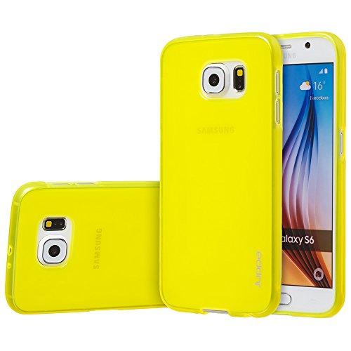 Juppa® Samsung Galaxy S6 Edge 5,1 Zoll SM-G925 Smartphone TPU Silikon Tasche Hülle Schutzhülle mit LCD displayschutzfolie und Mikro-Reinigungstuch - Klar Gelb
