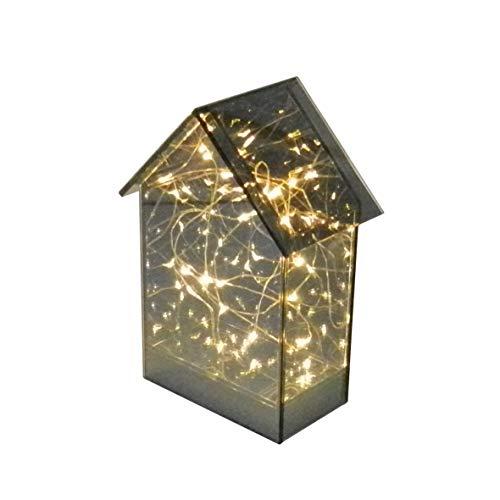 CVHOMEDECO. LED Lichterketten mit Tawny Verspiegelten Glas Tall Cabin, Batteriebetrieben, Virtueller romantischer Sternenhimmel-Effekt, 14 x 8,9 x H 19,7 cm