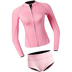 Perfeclan Combinaison de Plongée Néoprène pour Femme, Combinaison de Surf Longue Hiver, Séchage Rapide pour Kitesurf, Wakeboard, Kayak