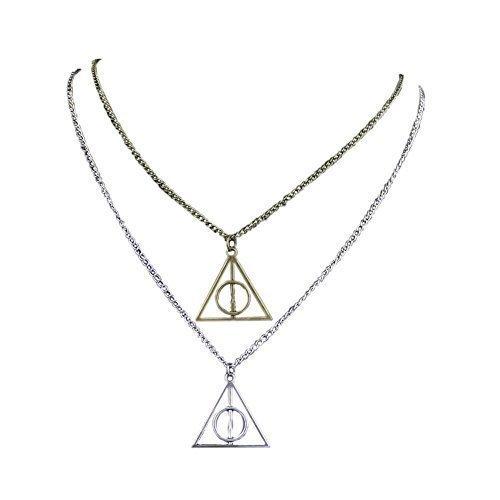 Plata y Bronce Triángulo Colgante Collar reliquias de la muerte y la