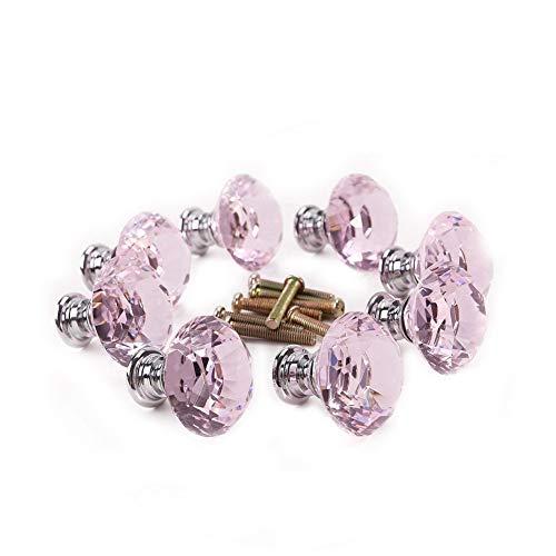 Transparente Aluminiumlegierung Diamant-Form-Drawer Knob-Kristallglas-Schublade Knopf Durable Fach-Handgriff zieht Rosa 10pcs -