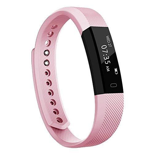 TOOBUR Fitness Armband, Schmal Wasserdicht Fitness Tracker mit Schrittzähler Schlafmonitor und Kalorienzähler, Aktivitätstracker Armbanduhr für Damen Frauen und Kinder-Rosa