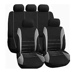 Autositzbezüge Komplettsatz in Grau und Schwarz Autoinnenausstattung Airbag Kompatibel zu Fahrzeugen PKW Lkw & SUVs