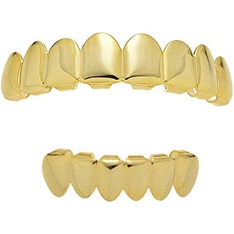 Best Grillz Juego 8ocho dientes Top superior 6Seis inferior inferior Plain 14K Chapados En Oro Hip Hop dientes