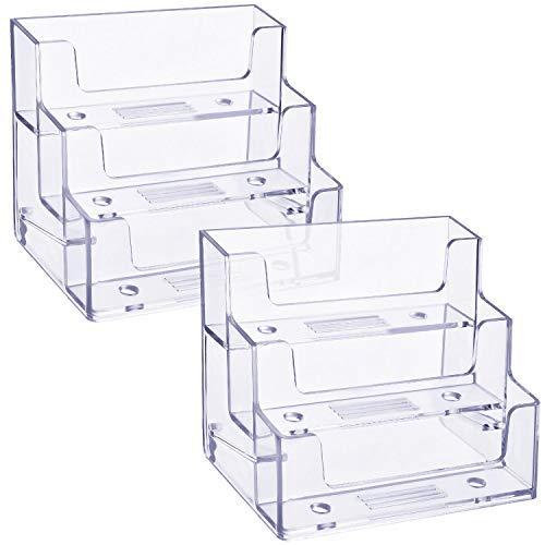 2 Pezzi Porta Biglietti da Visita 3 Terzo Organizzatore di Stand per Carte di Plastica Trasparente Display del Titolare della Carta per Ufficio, 180 Carte di Capacità