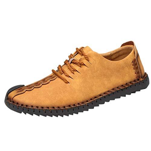 e für Herren/Skxinn Freizeitschuhe Low-Top Mokassins Schnürsenkel Loafers Bequeme Kunstlederschuhe Männer für Arbeit Business Halbschuh mit Gummisohle Größe 38-48(Gelb,43 EU) ()